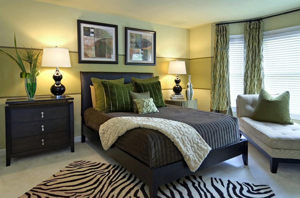 Оттенки оливкового цвета в спальне