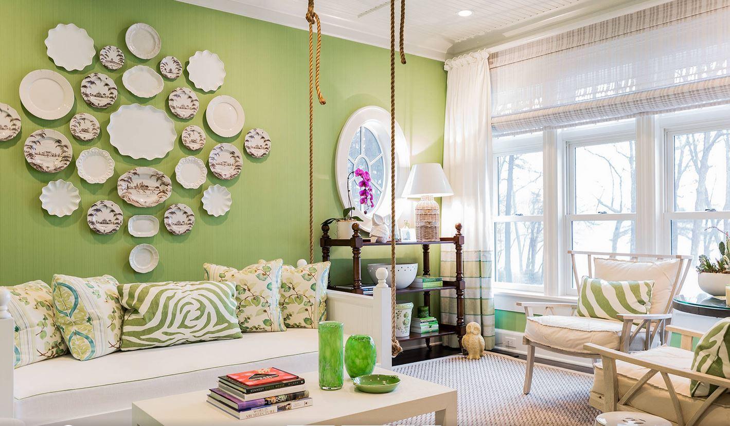 Оливково-белая гостиная