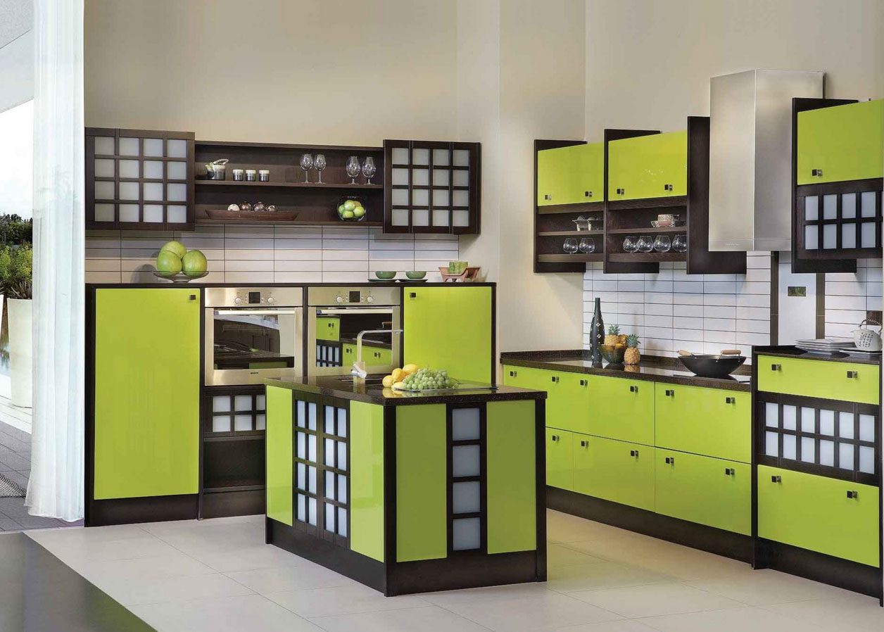 Черно-оливковый кухонный гарнитур