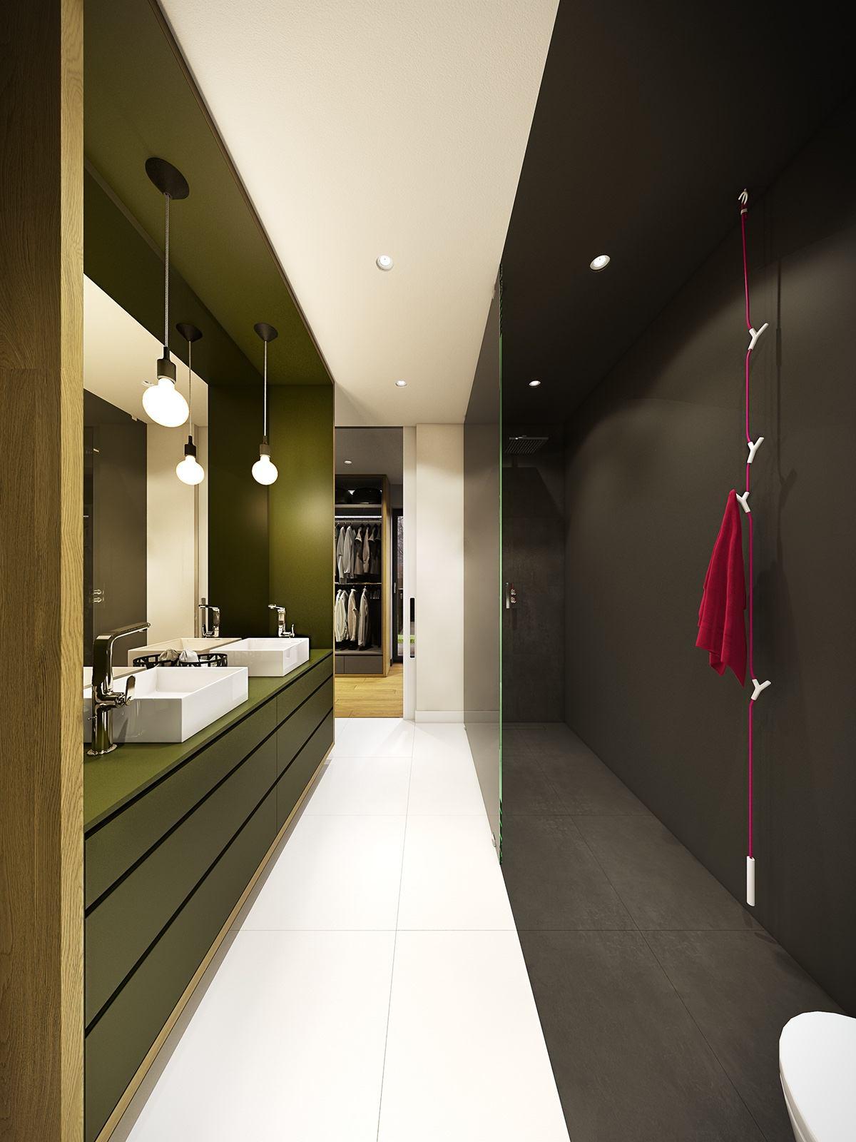 Оливковая отделка в ванной