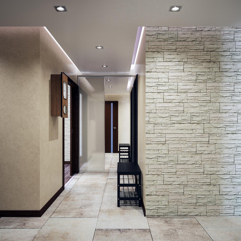Отделка стены в коридоре декоративным камнем
