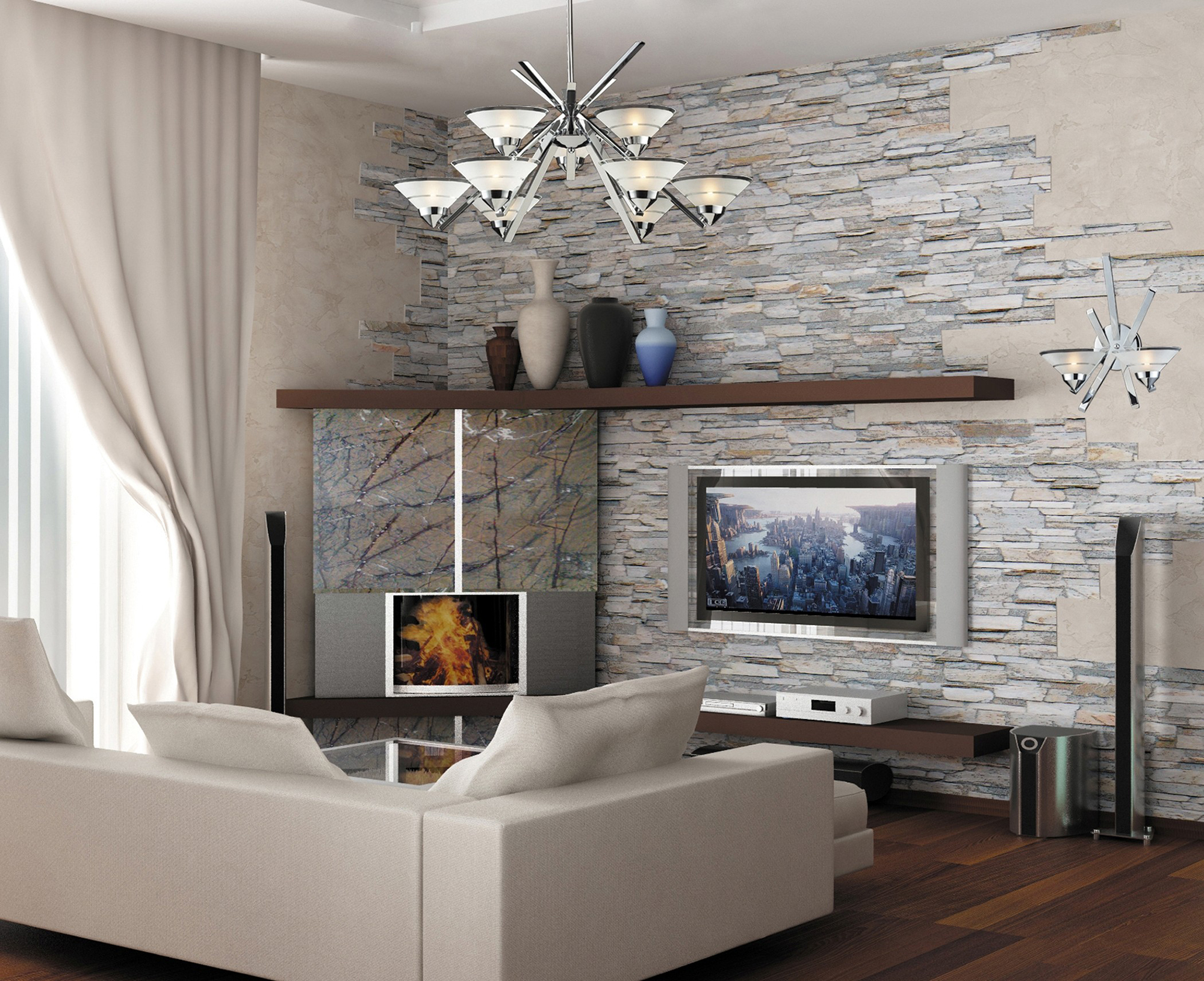 Частичная отделка стены в гостиной камнем