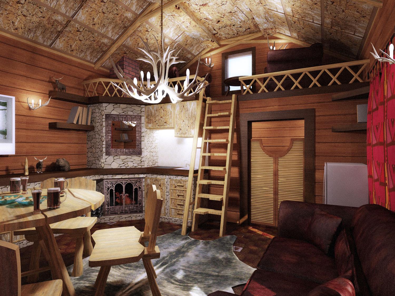 Дизайн небольшого домика в охотничьем стиле