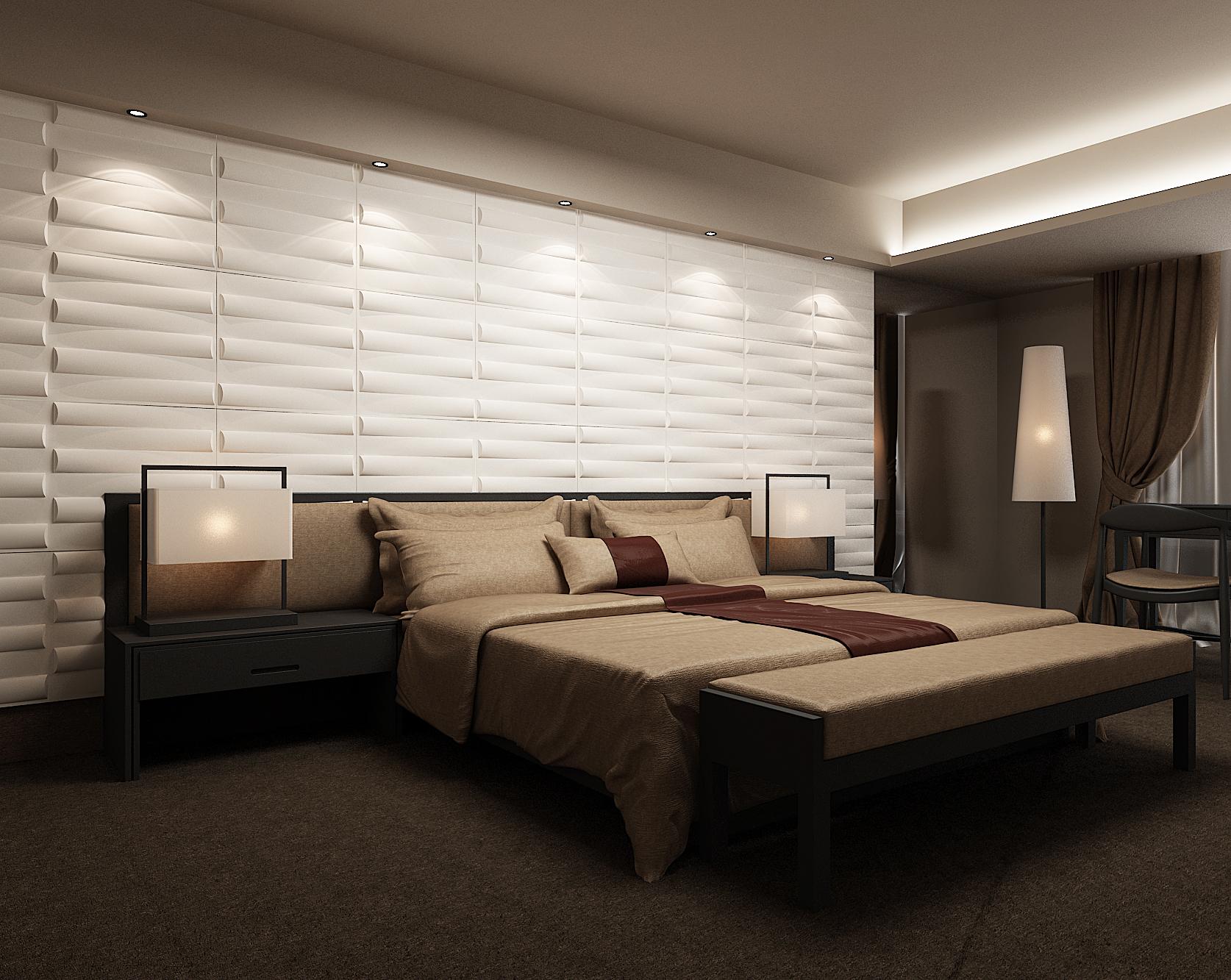 ПВХ панели в интерьере спальни