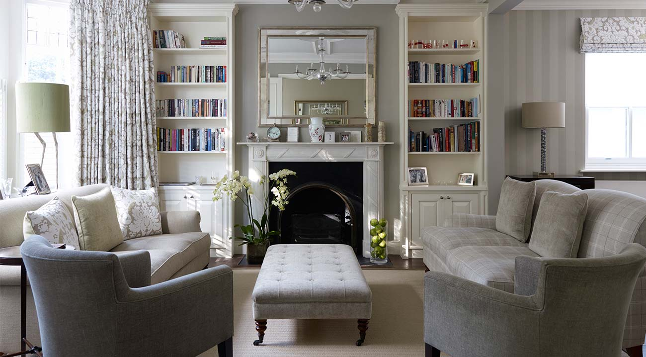 Гостиная в пастельных тонах в классическом стиле