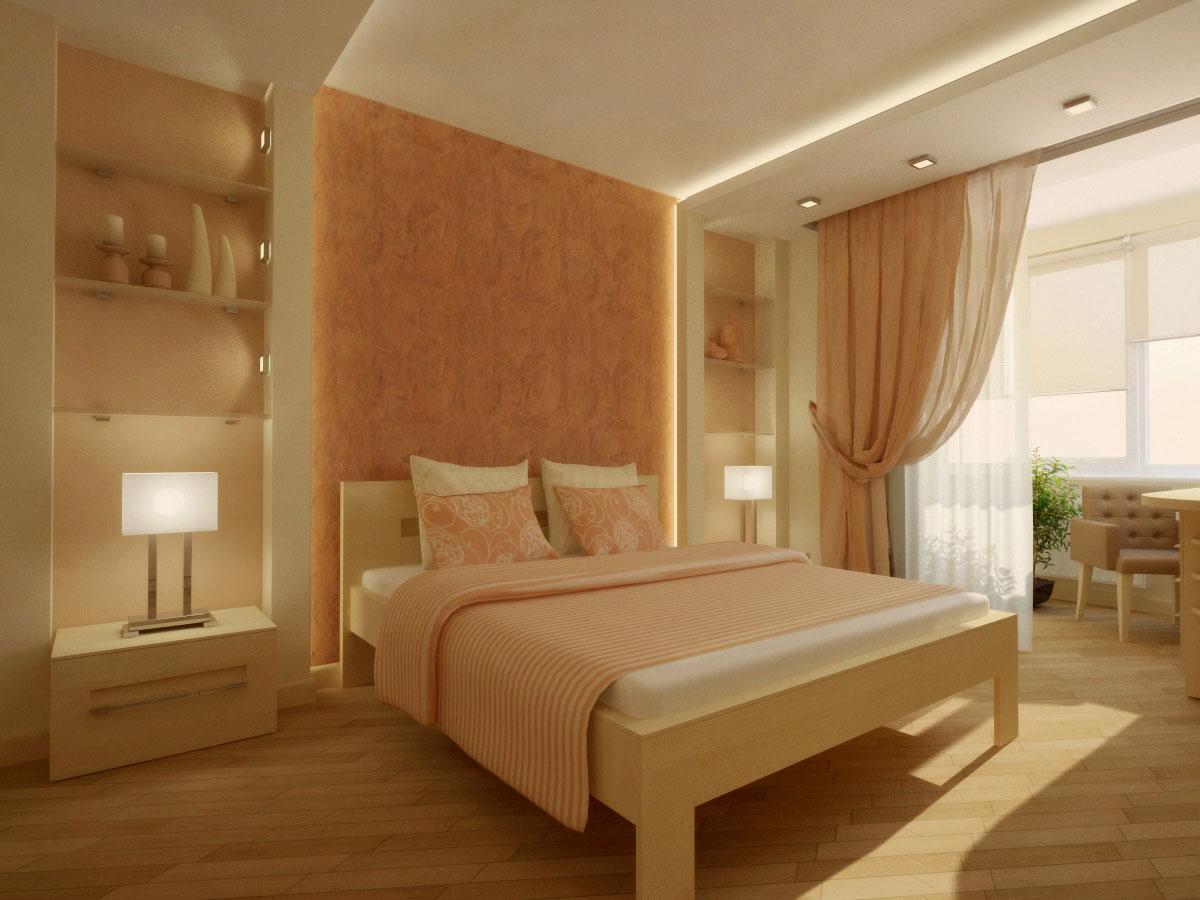 Персиково-белая спальня