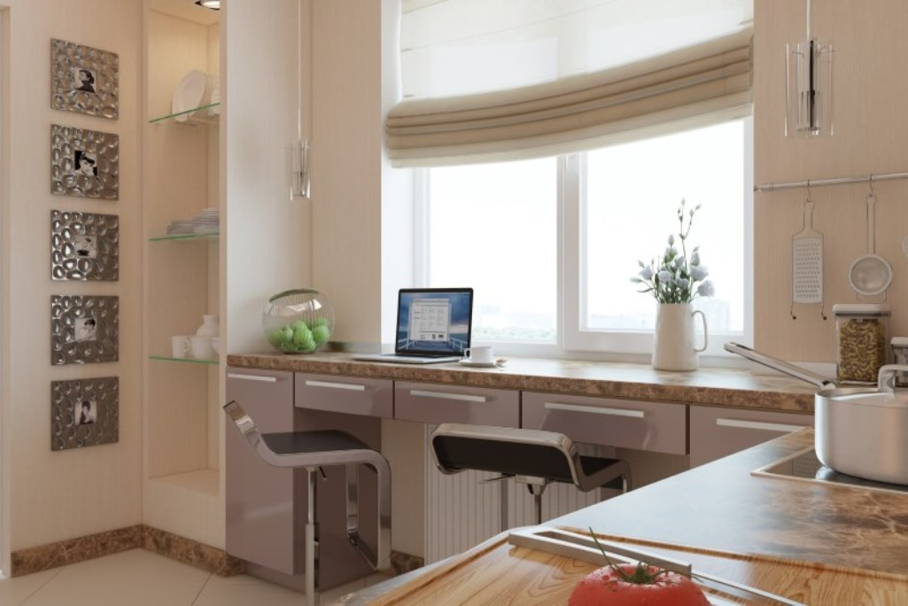 Подоконник-рабочий стол на кухне