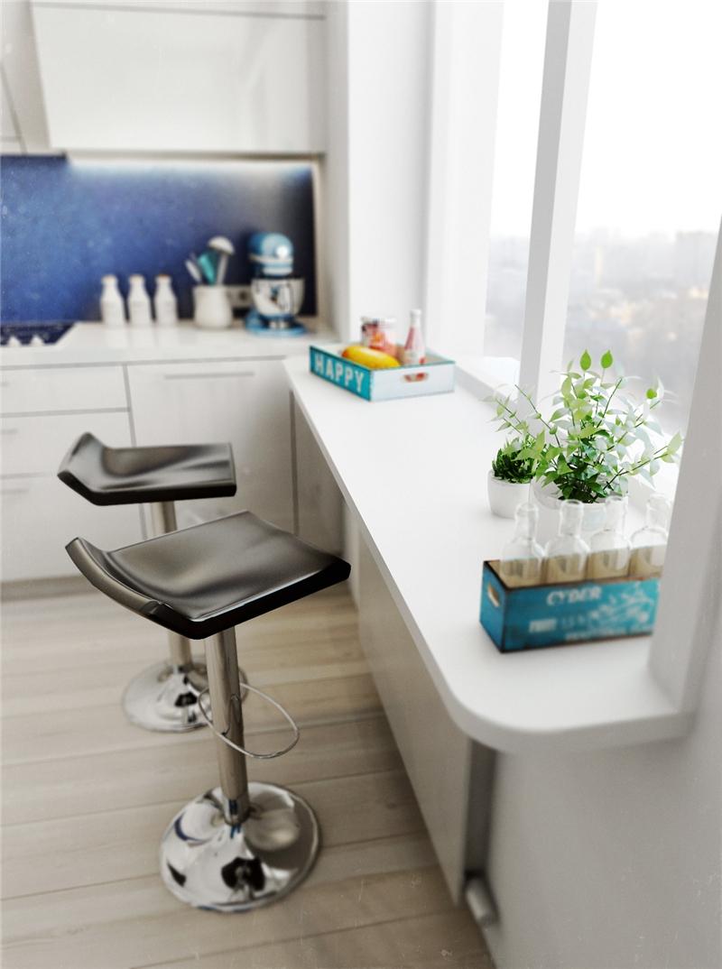 Белый подоконник – кухонная столешница