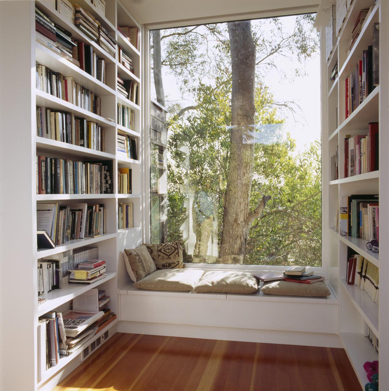 Подоконник-диван в домашней библиотеке
