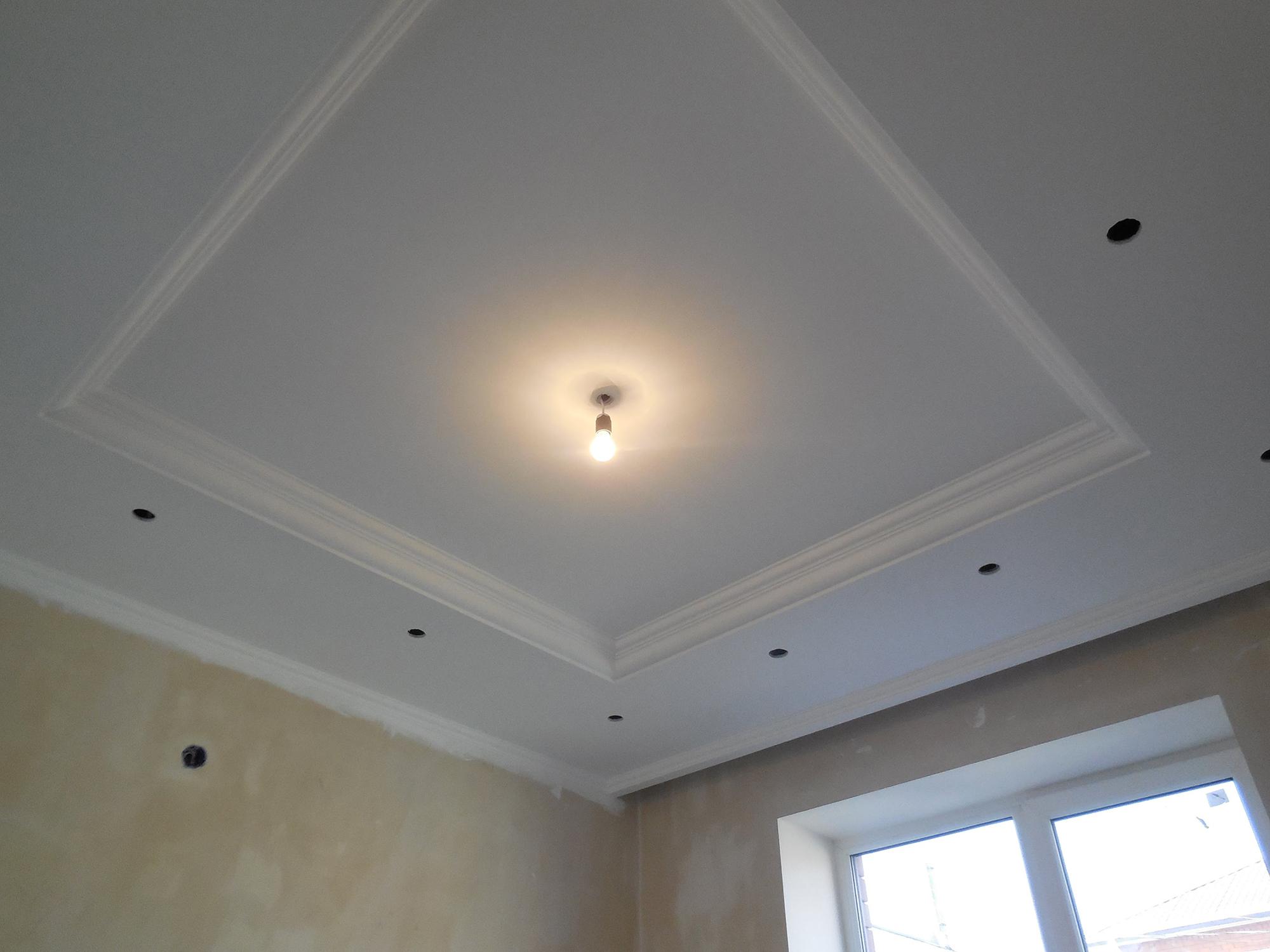 Подготовка потолка из гипсокартона