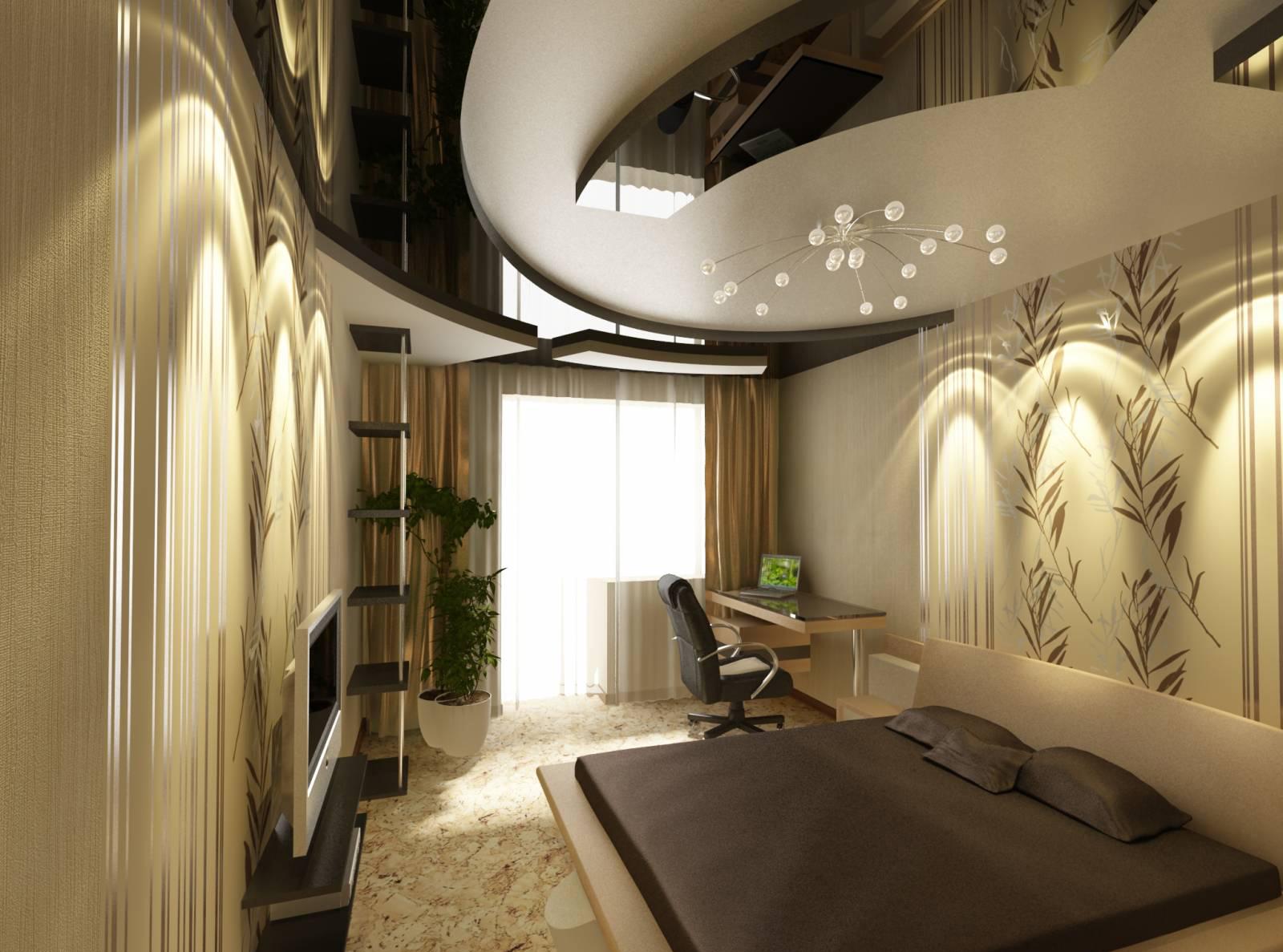 Черно-серый потолок из гипсокартона в спальне