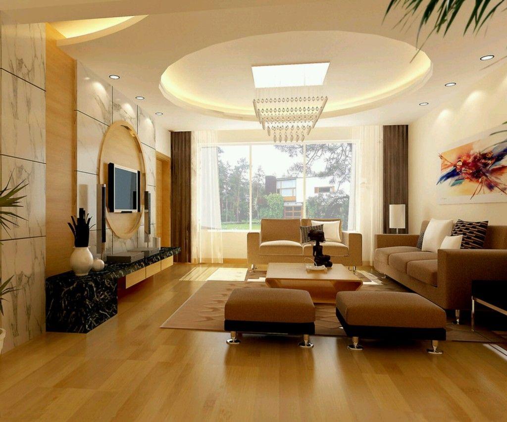 Потолок из гипсокартона с круглой формой в гостиной