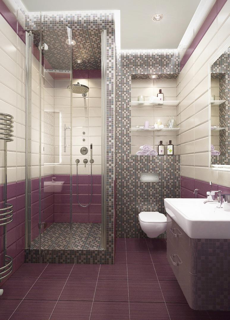 Комбинирование стандартной и других раскладок плитки в ванной комнате