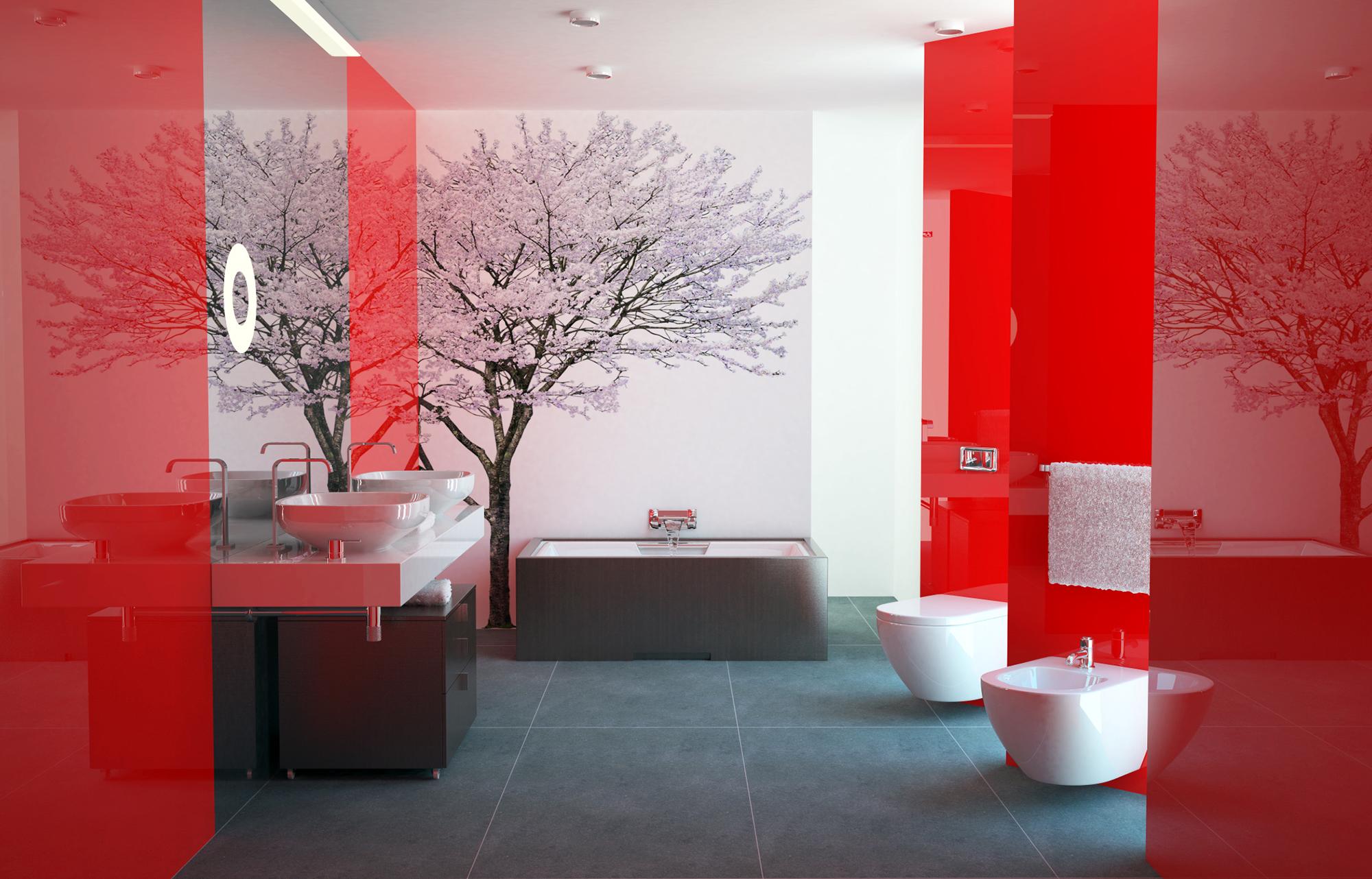 Красная и белая плитка в ванной
