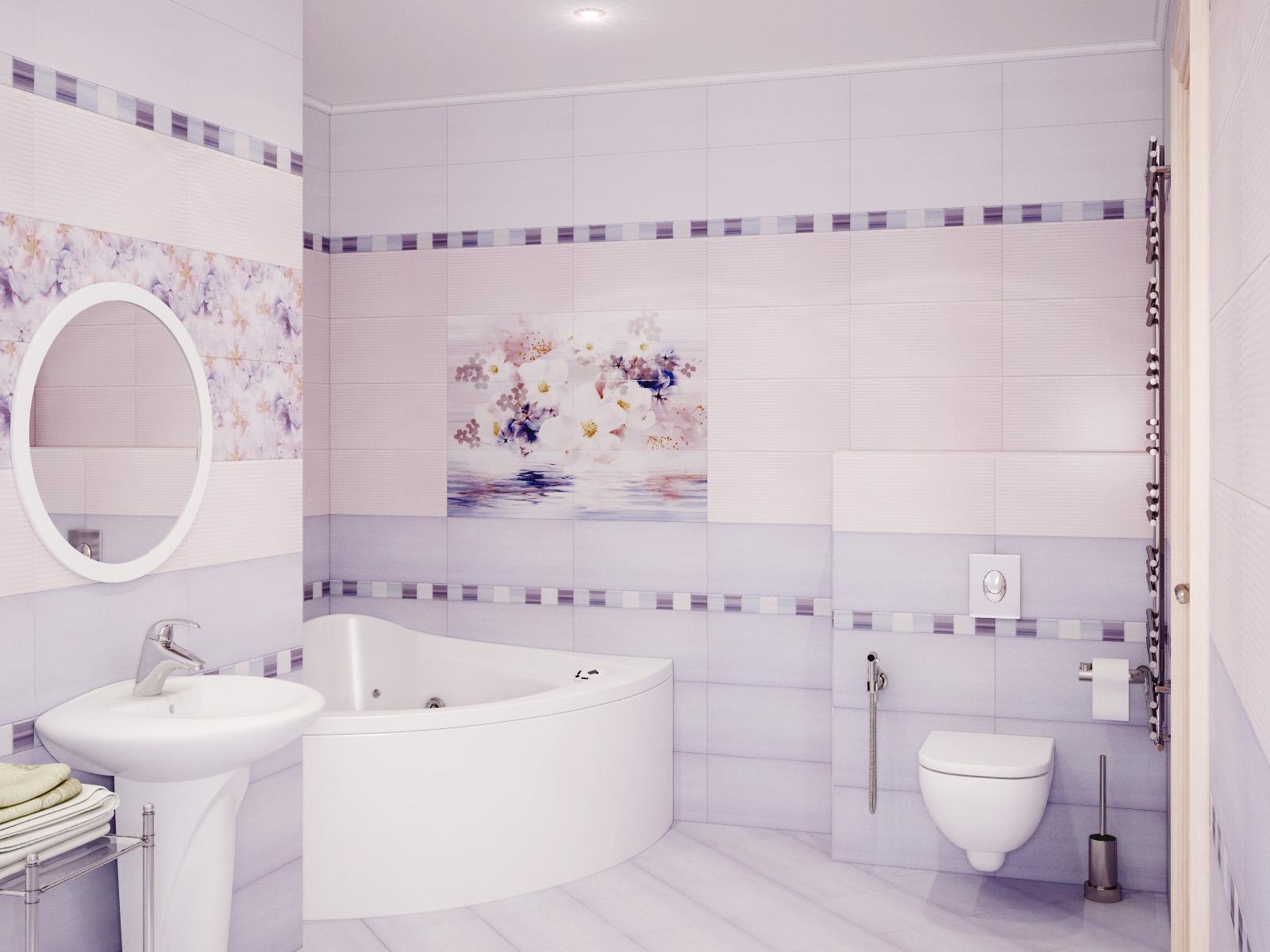 Пастельная сиреневая и розовая плитка в ванной