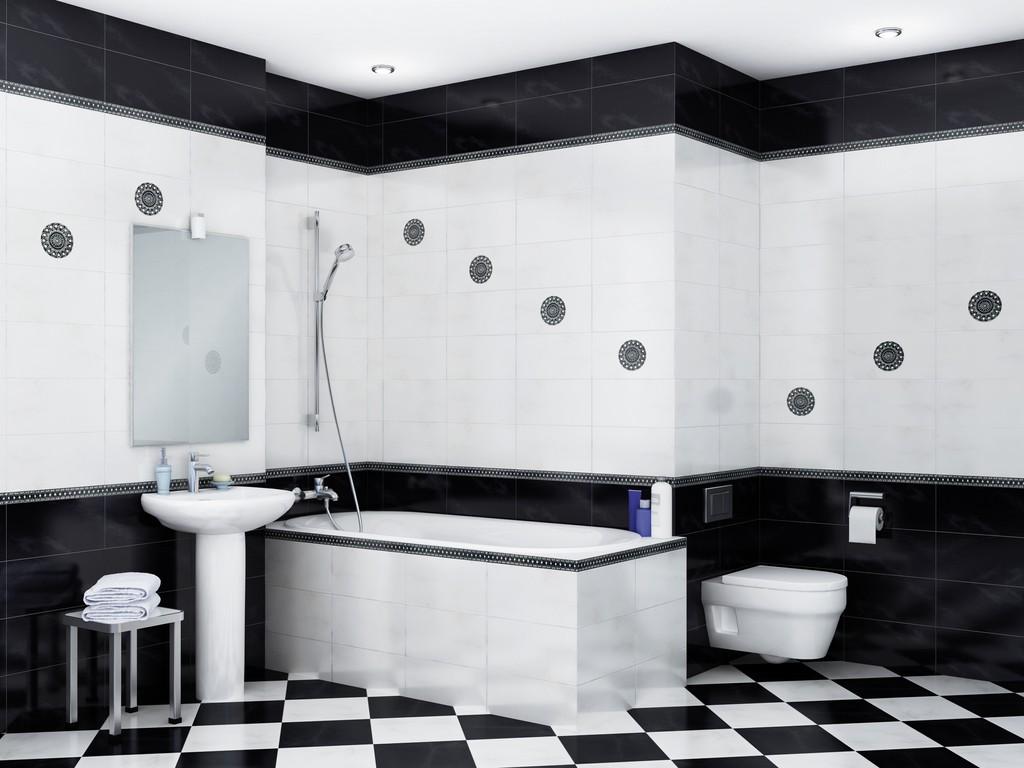 Укладка ромбиком черной и белой плитки в ванной
