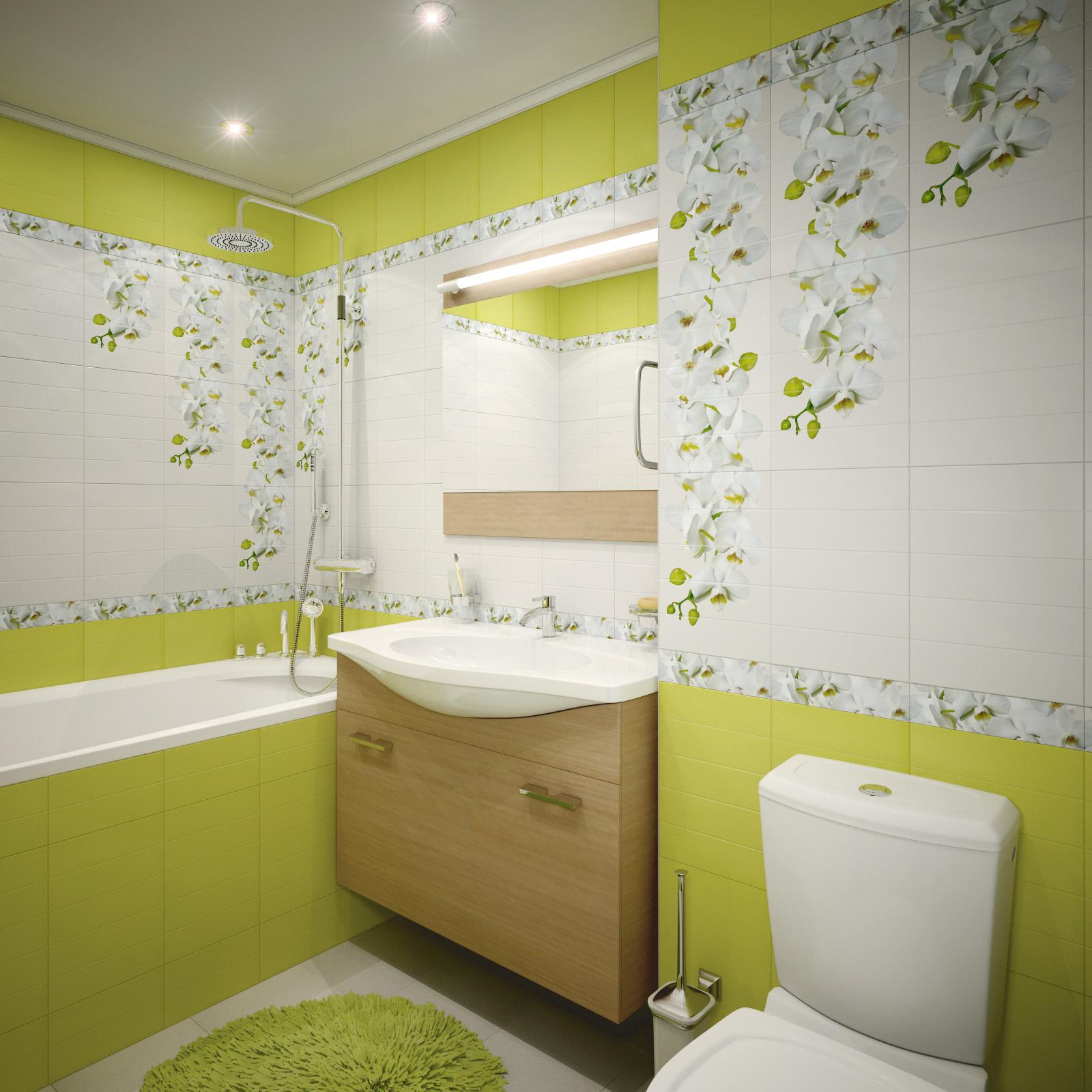 Плитка с цветочными акцентами в ванной