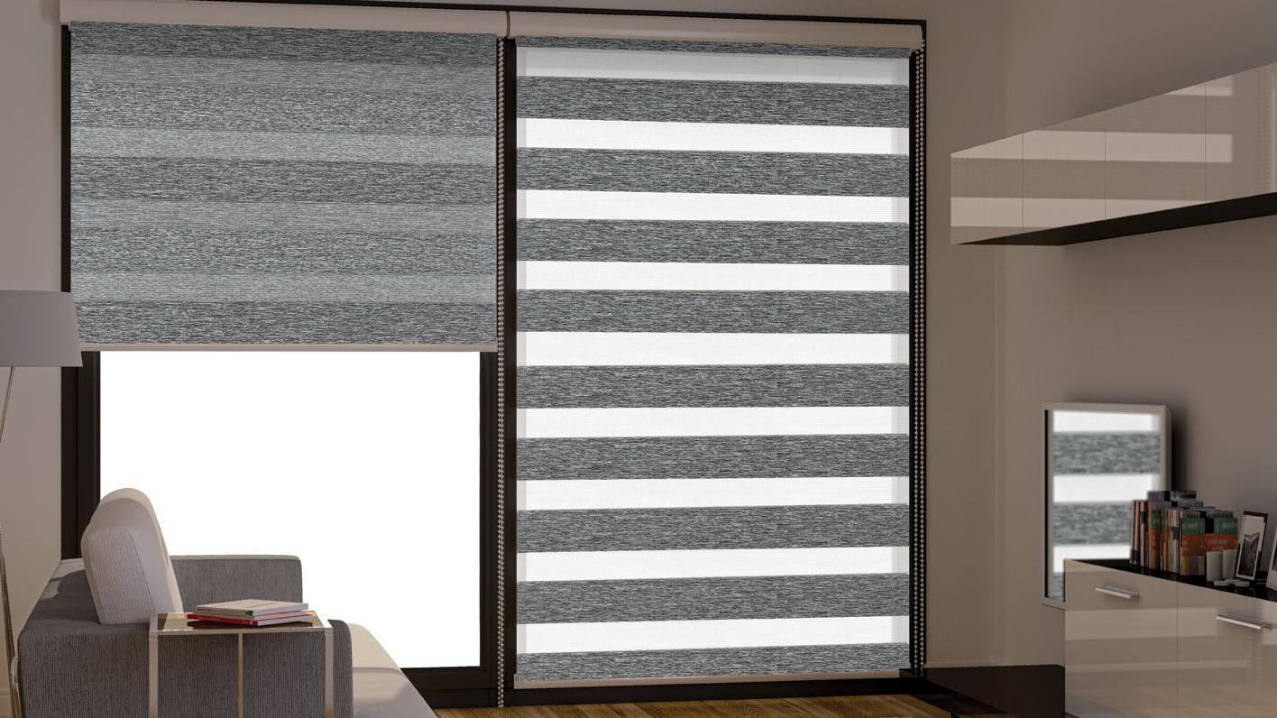 Двойные серые римские шторы день-ночь