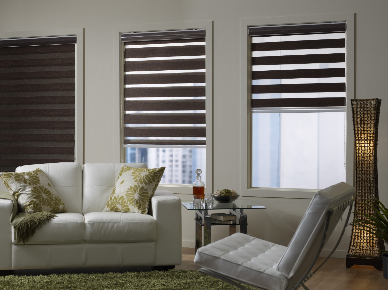 Темно-коричневые римские шторы день-ночь