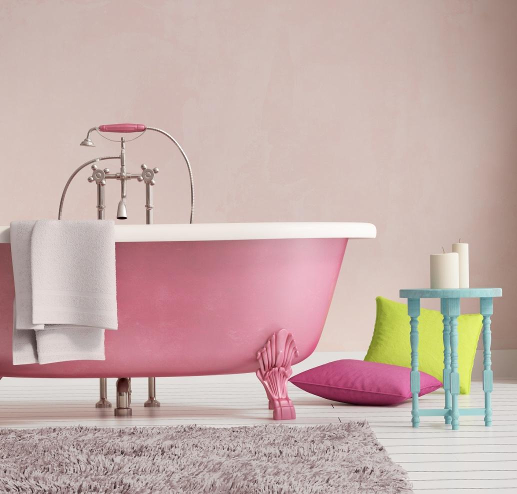 Розовый и белый в ванной