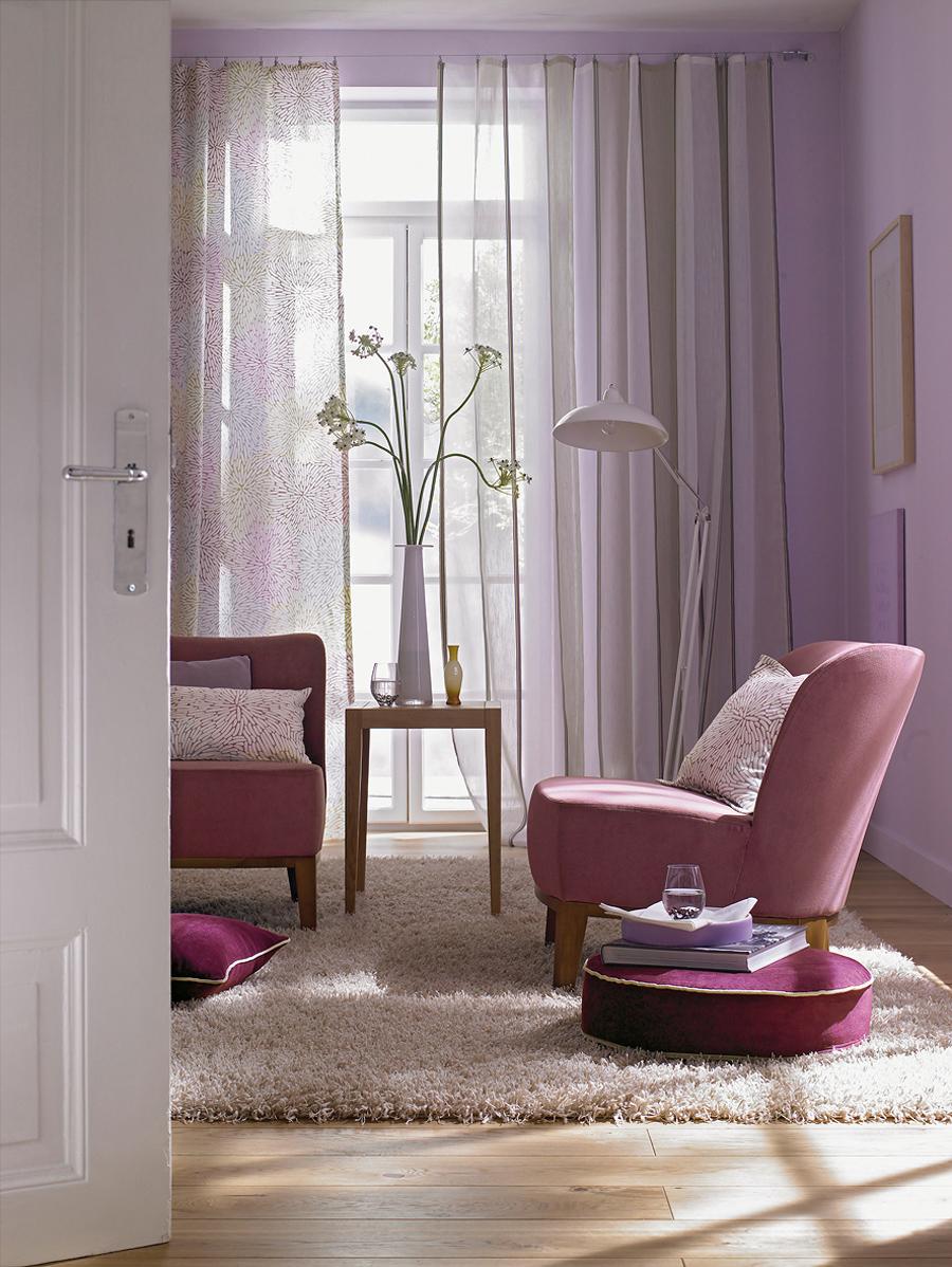 Красивое сочетание розового и сиреневого в интерьере