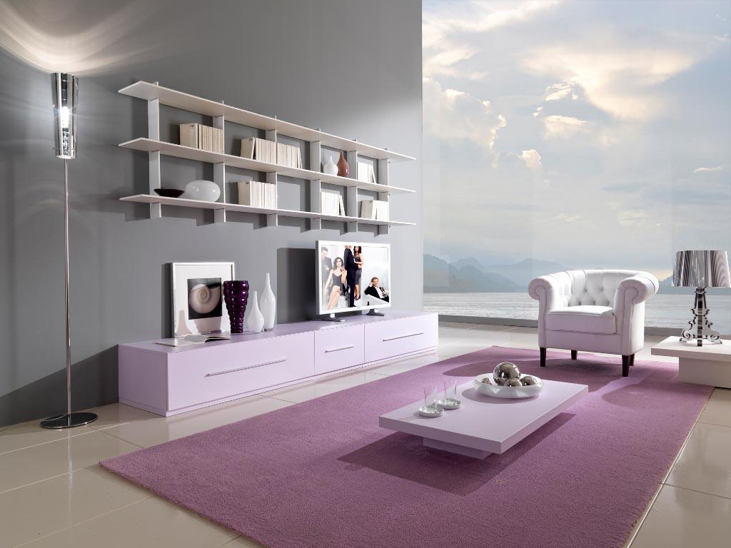 Розовый и серый в гостиной