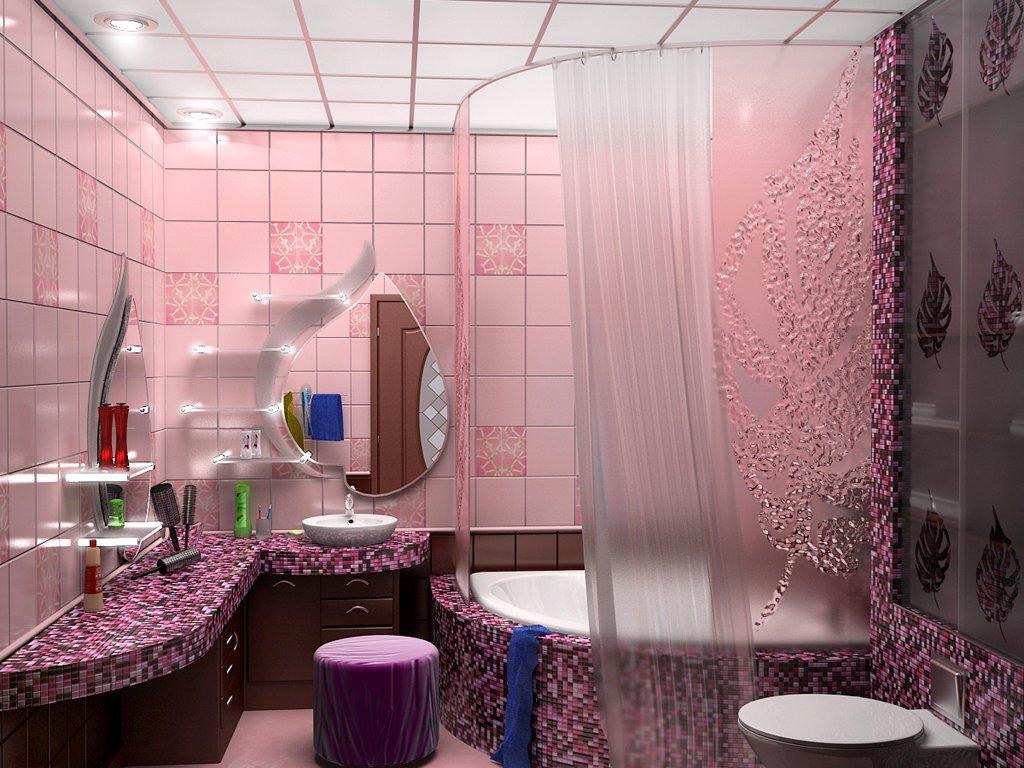 Розовый и сиреневый в ванной