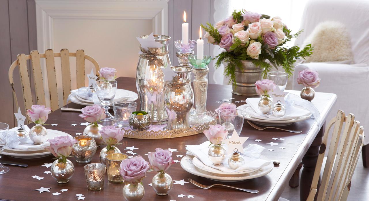 Сервировка стола розами