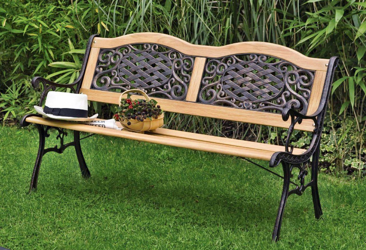 Изящная скамейка из дерева и металла