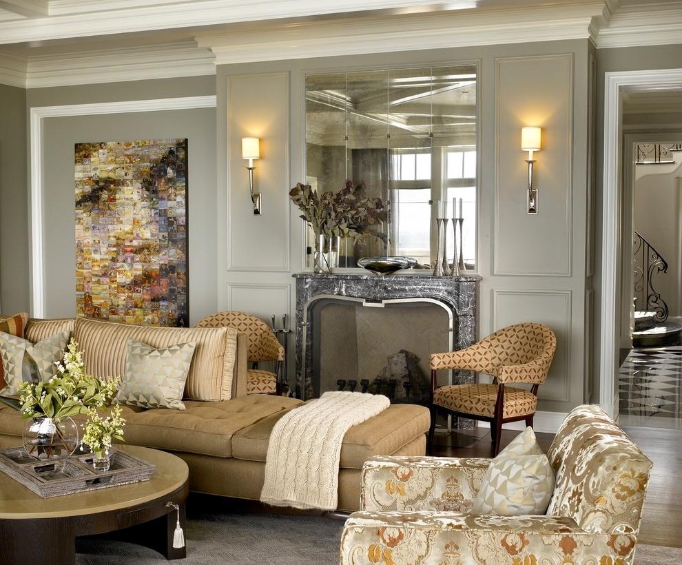 Серая гостиная в классическом стиле