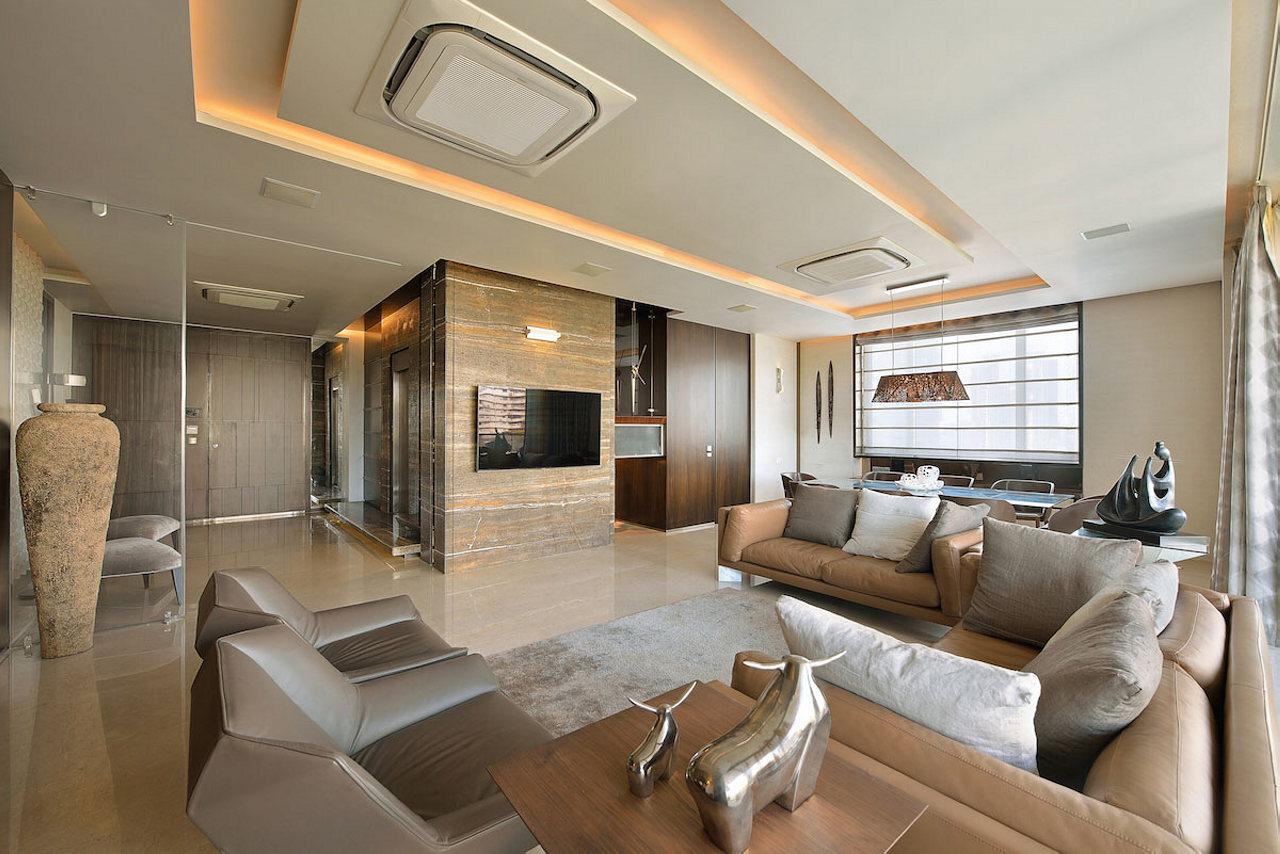 Двухуровневая квартира в серебряном тоне