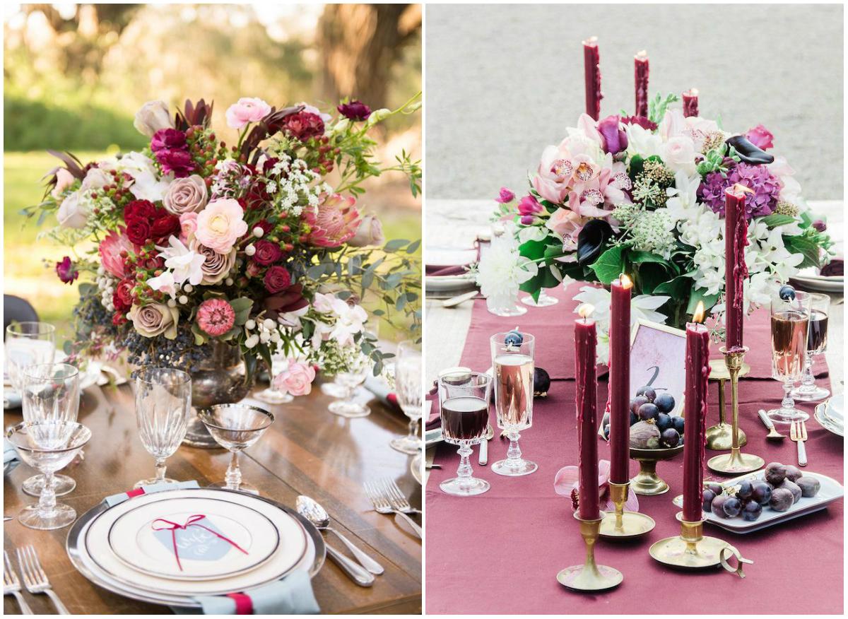 Сервировка стола с цветами для романтического ужина