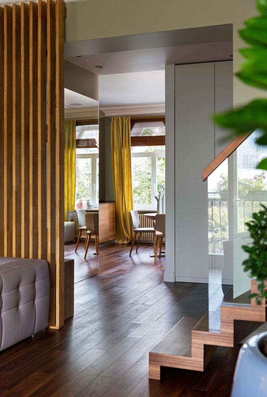 Двухуровневая квартира в сером дизайне