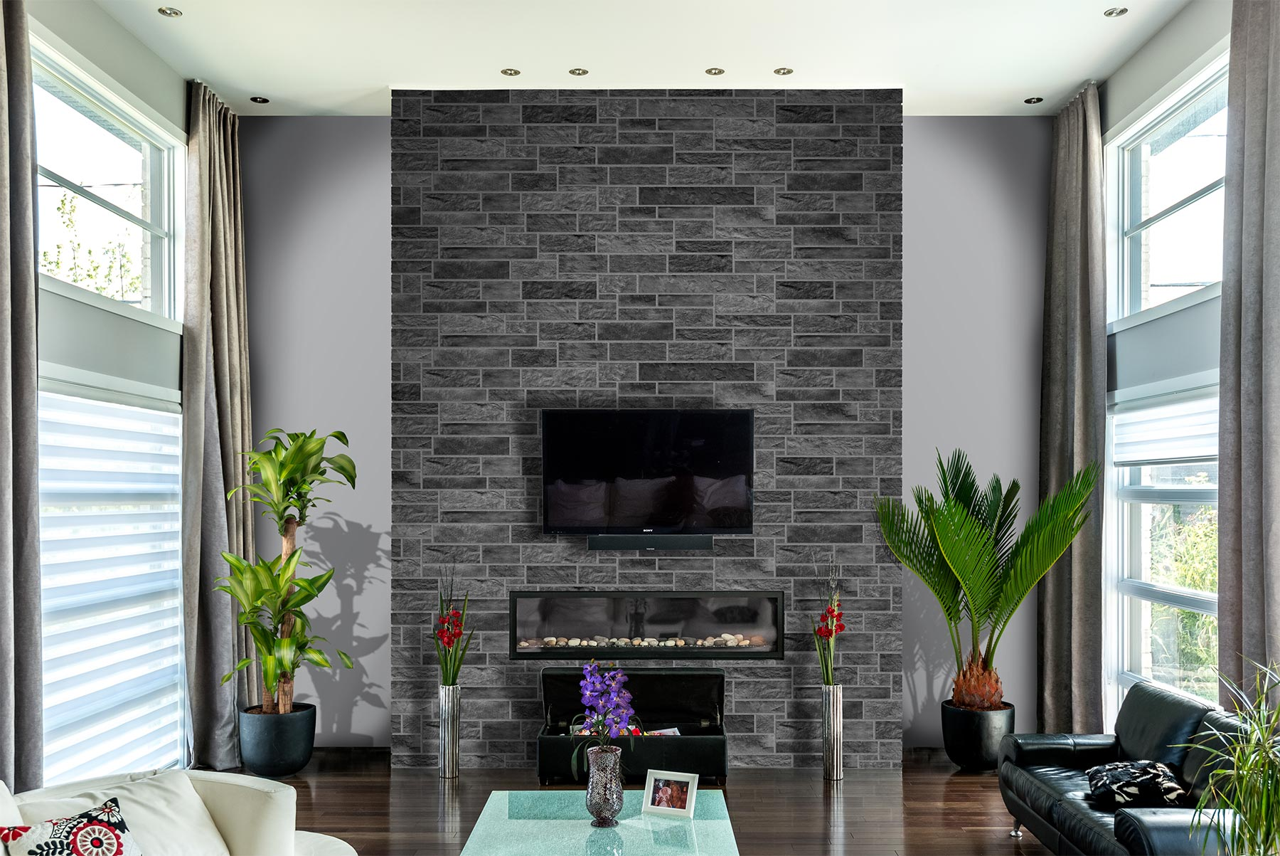 Отделка стен декоративным камнем серым