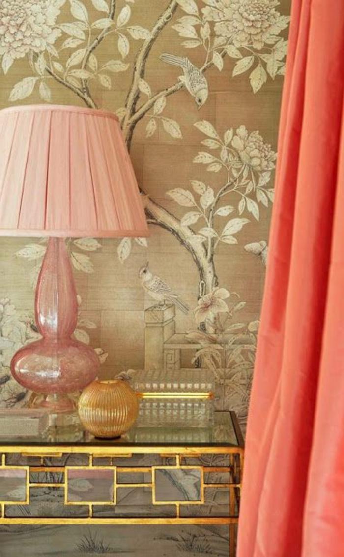 Персиковый цвет шторы в интерьере