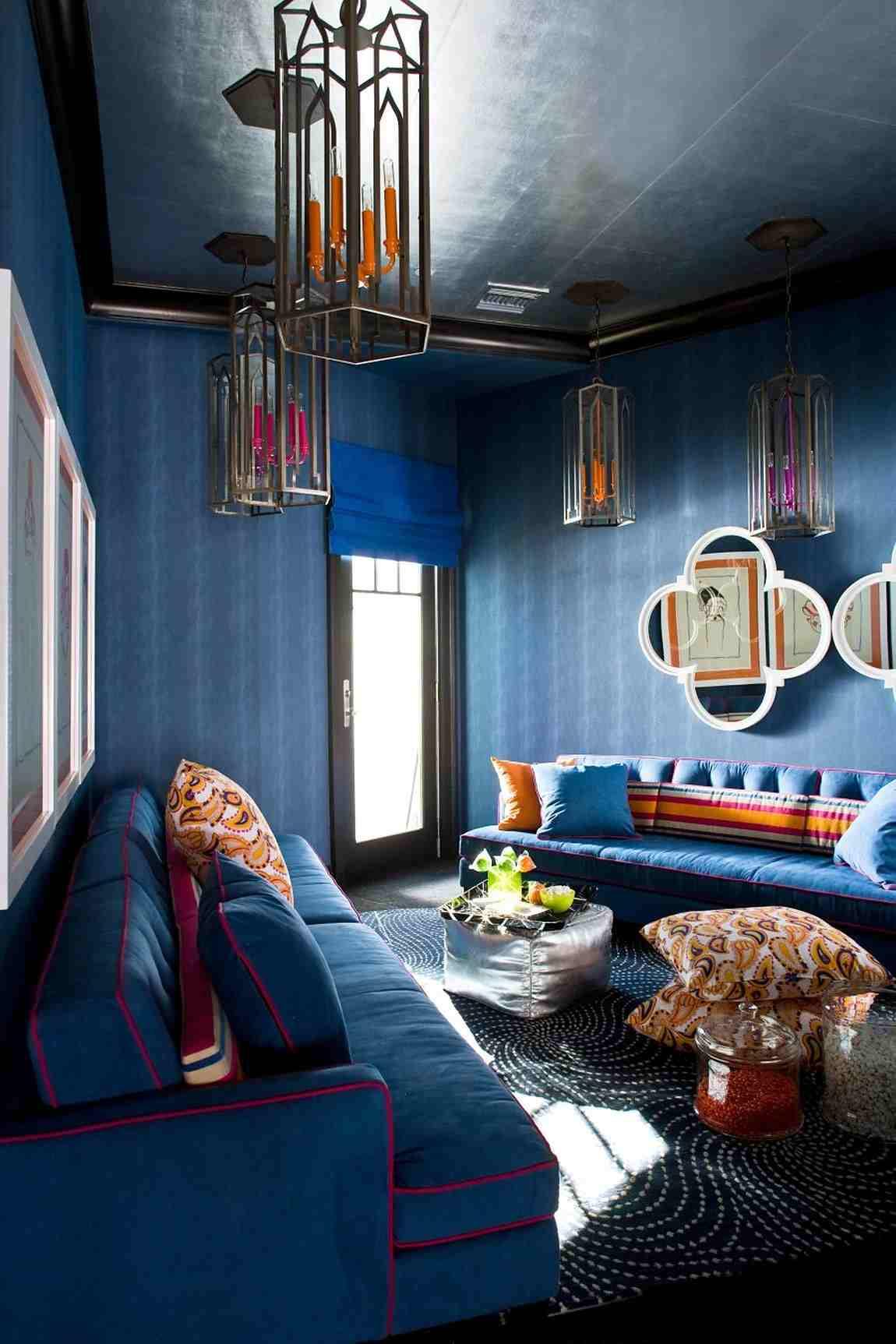 Восточный стиль в синем интерьере