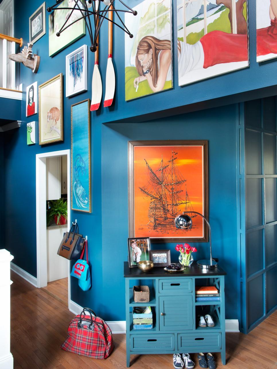 Сочетание синего цвета в интерьере