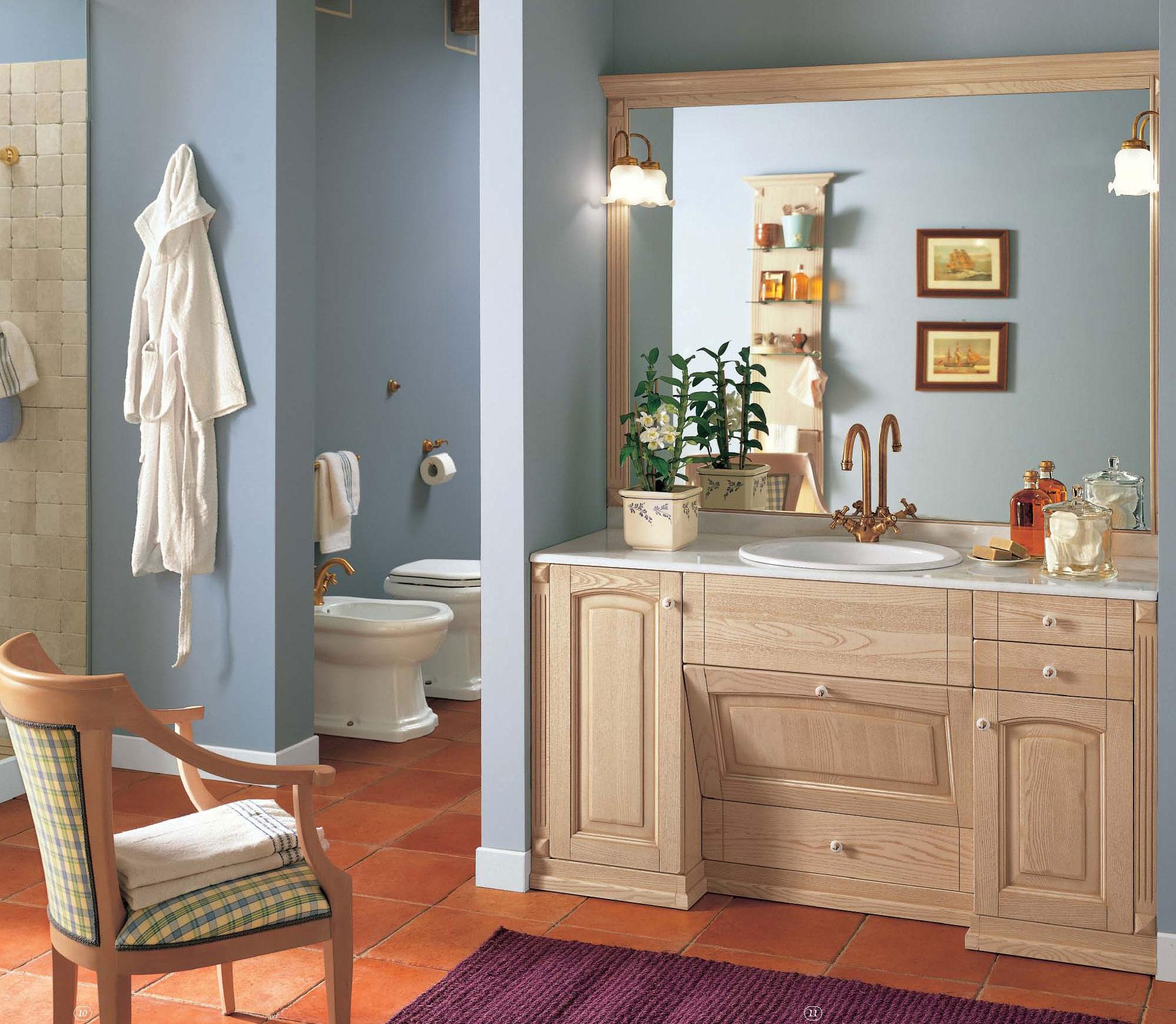 Бежево-голубая ванная комната
