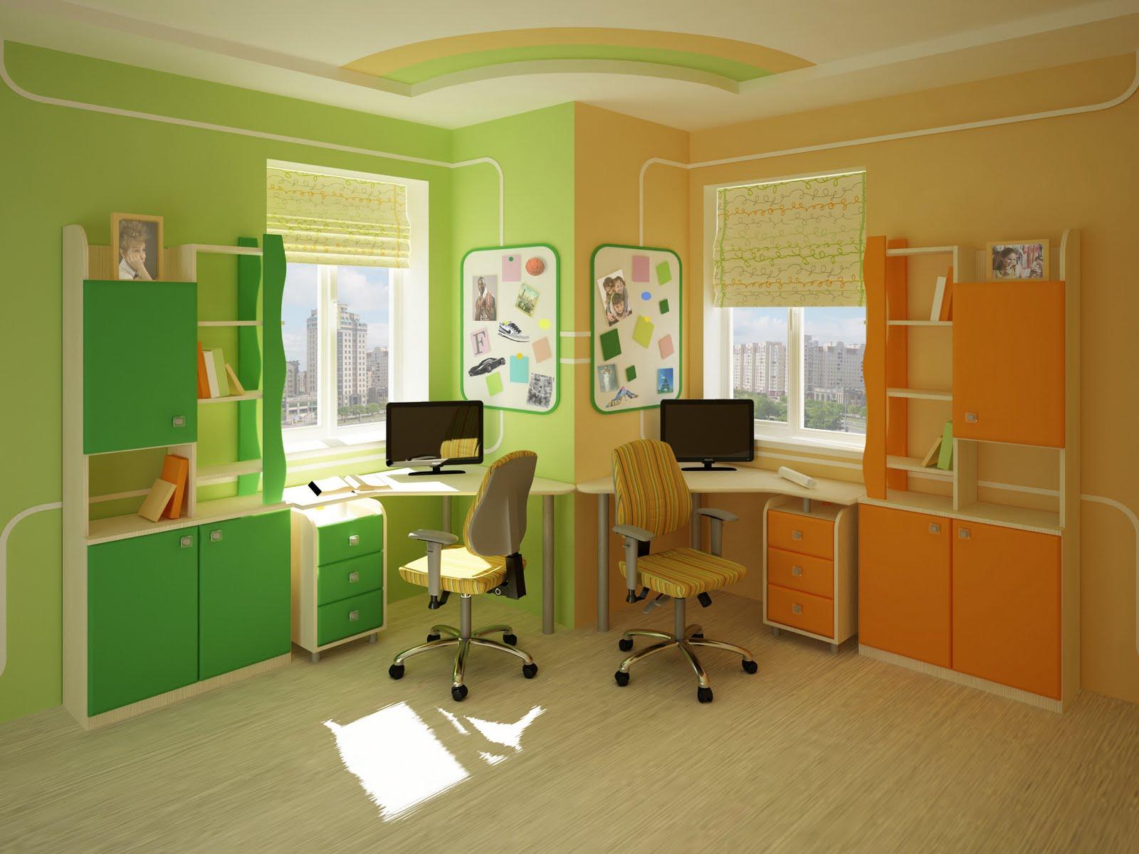 Сочетание зеленого и оранжевого в детской