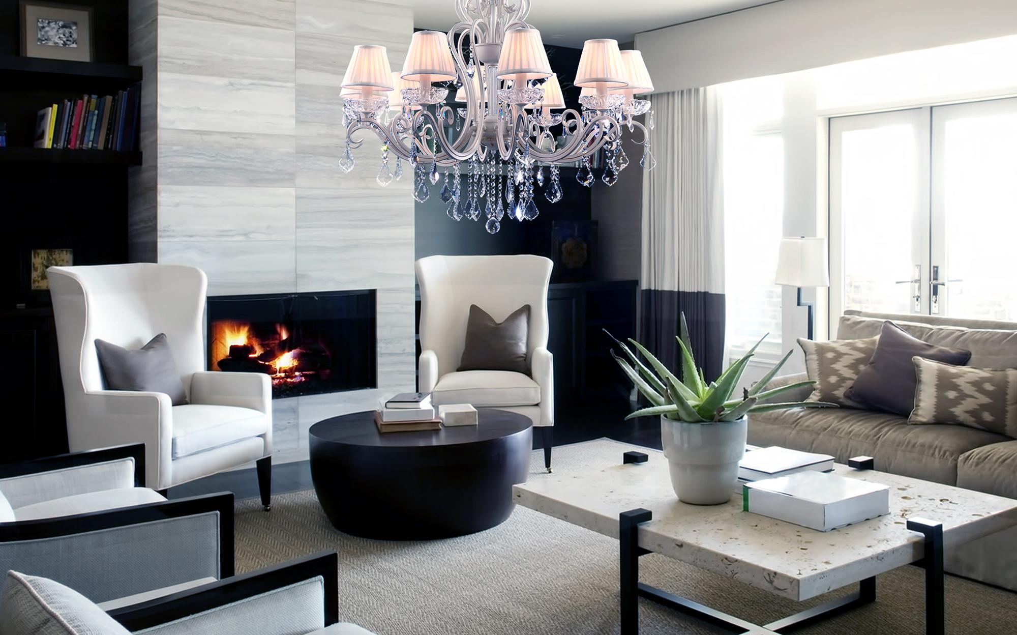 Красивая люстра в современной гостиной