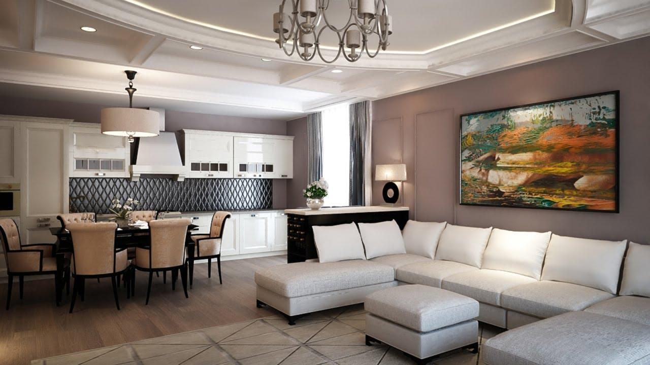 Красивая люстра в современной гостиной-кухне