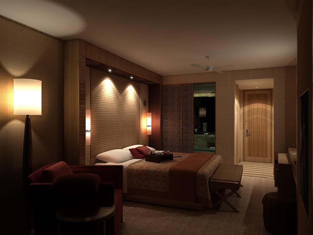 Яркие настенные лампы в спальне
