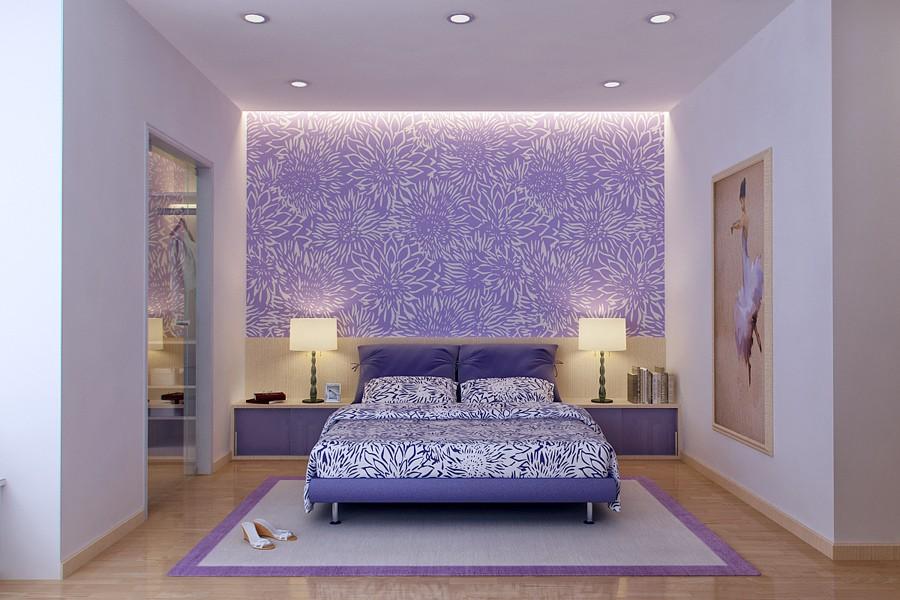 Яркие прикроватные лампы в бело-сиреневой спальне