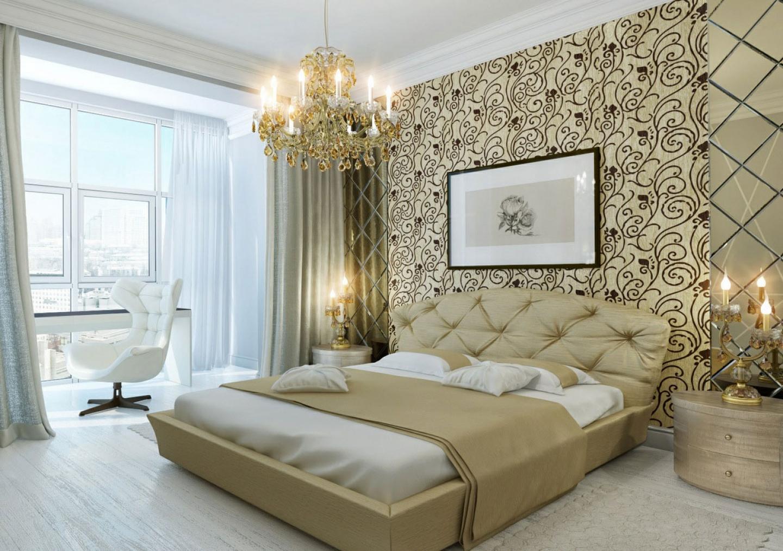 Классическая спальня с люстрой и прикроватными лампами