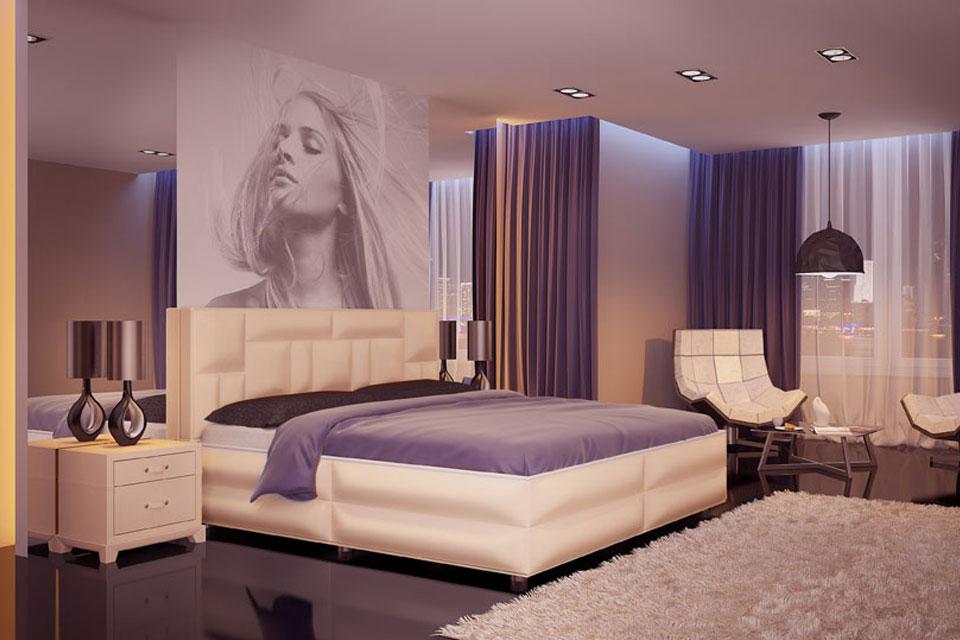 Комбинированное освещение в современной спальне