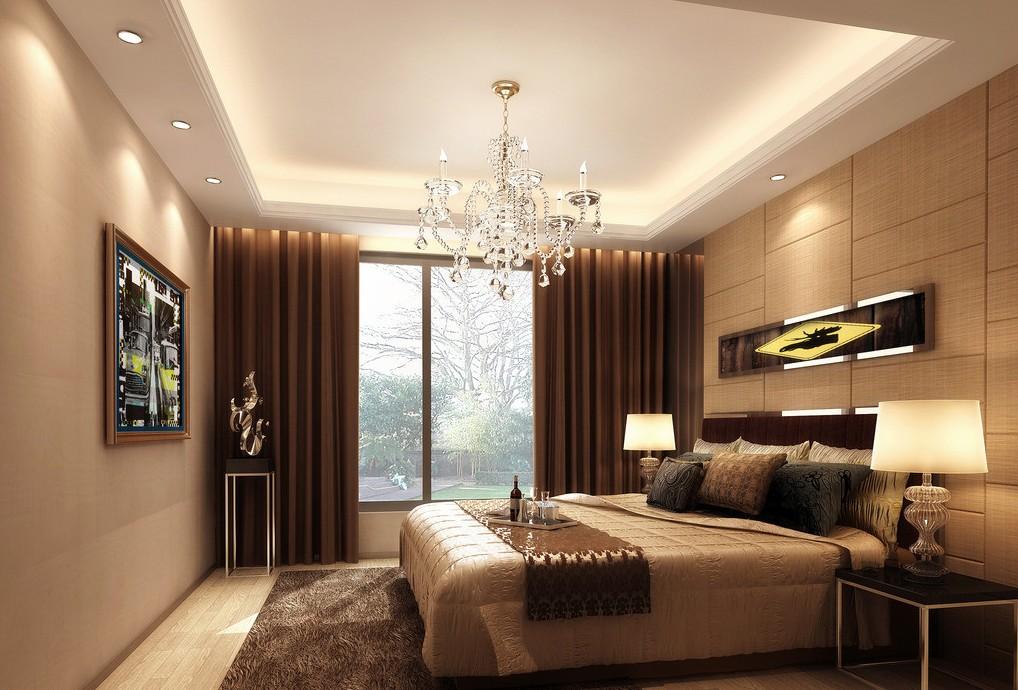 Разное потолочное освещение в спальне