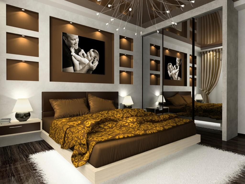 Разные светильники в спальне