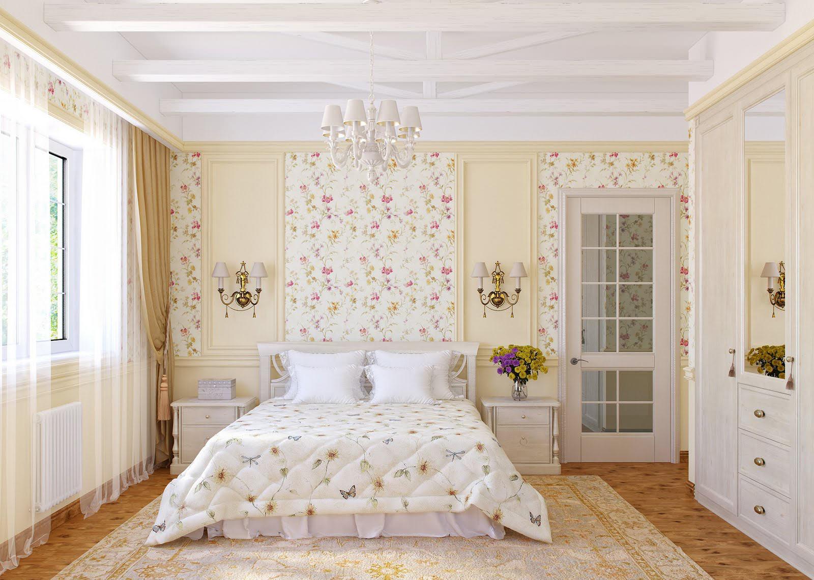 Бежево-белая спальня в стиле прованс