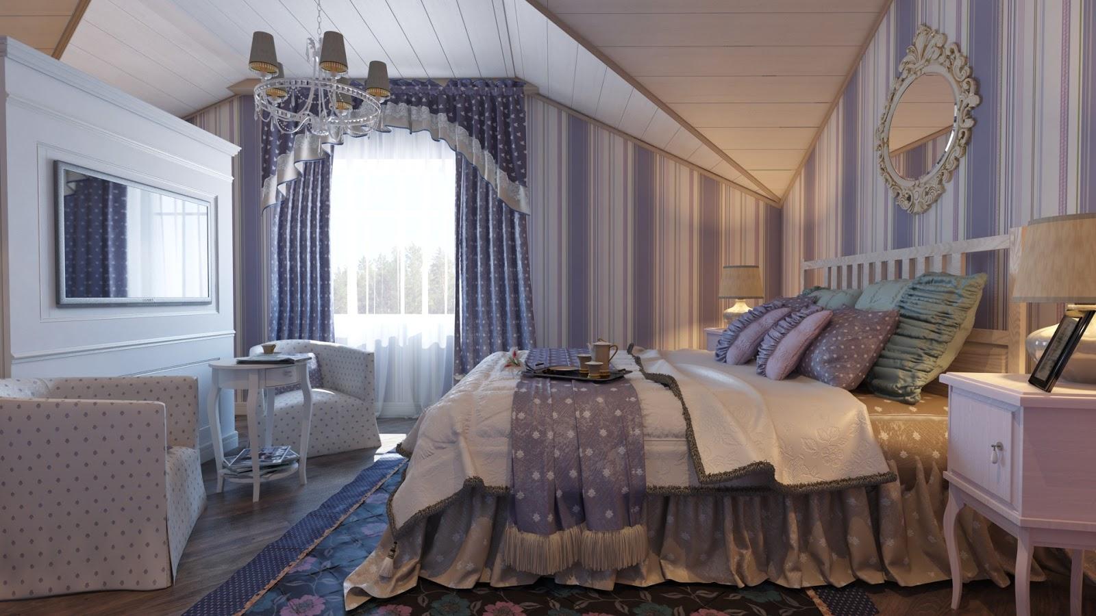 Красивая мансардная спальня в стиле прованс
