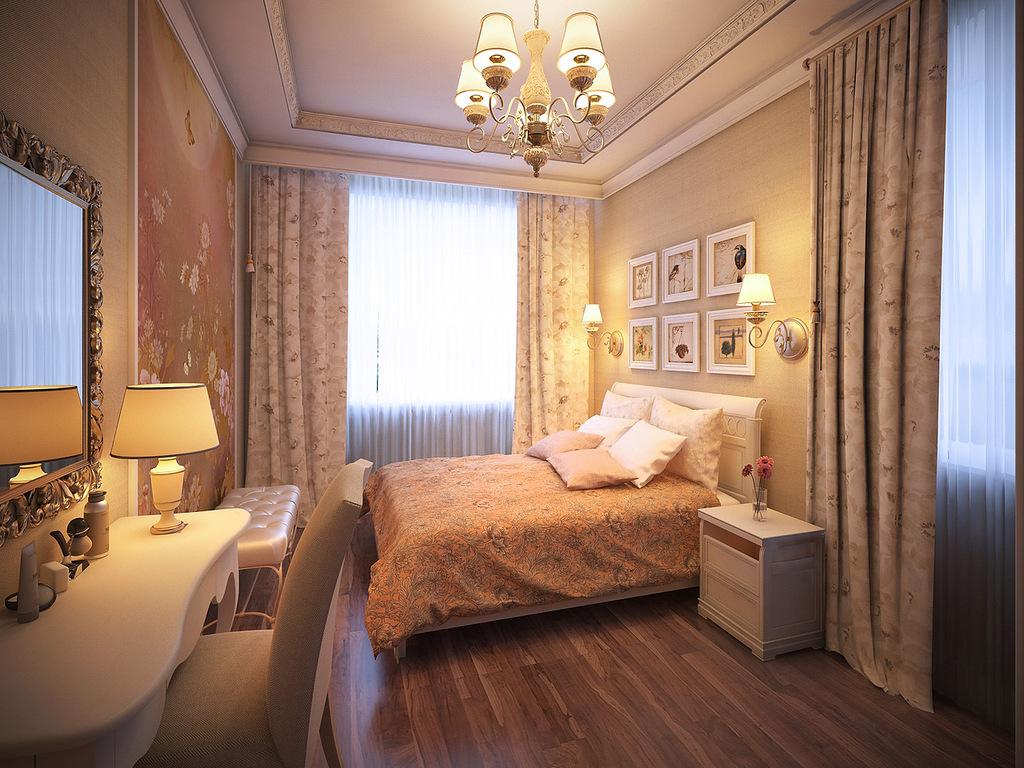 Обои спокойных тонов в небольшой спальне в стиле прованс
